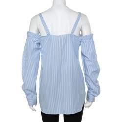 N21 Light Blue Striped Cotton Embroidered Off Shoulder Top M