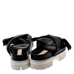 حذاء سلايدز N21 نعل سميك فيونكة جلد أسود مقاس 39