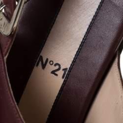 صندل فلات N21 بوم بوم و شراشيب فتحة كعب جلد عنابي مقاس 37.5