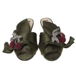 N21 Green Satin Crystal Star Embellished Knot Mules Size 38