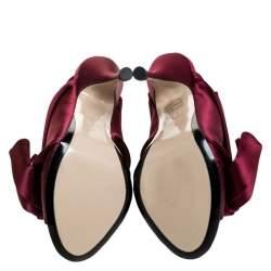 """حذاء سلايد""""إن21"""" """"روني"""" بطيات ساتان عنابي مقاس 37"""