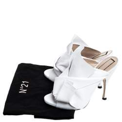 N21 White Leather Ronny Pleated Mules Size 37