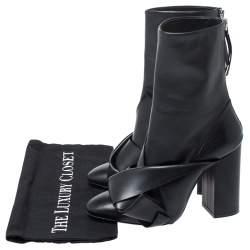 """حذاء بوت منتصف ساق """"إن21"""" مزين بعقدة جلد أسود مقاس 38"""