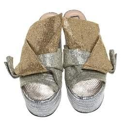 N21 Silver/Gold Glitter Fabric Raso Knot Espadrille Platform Wedge Sandals Size 39