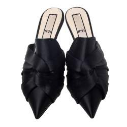 N21 Black Satin Knot Pointed Toe Heel Slippers Size 40