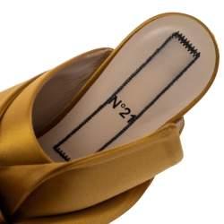 حذاء مولز أن 21 مقدمة مفتوحة عقدة رازو ساتان أصفر مقاس 39