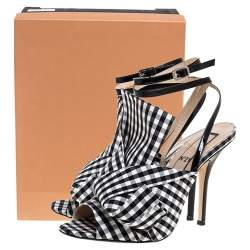 N21 Monochrome Checkered Knotted Fabric Gingham Ankle Wrap Peep Toe Sandals Size 38.5