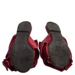 N°21 Burgundy Satin Knot Flat Mules Size 37