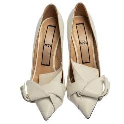 N21 White Leather Abstract Bow Pointed Toe Pumps Size 39