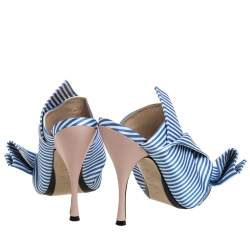 N°21 Light Blue/ White Stripped Satin Bow Mules Sandals Size 40