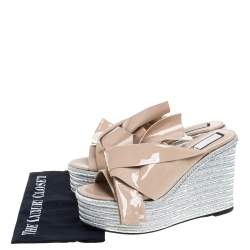 N21 Beige Patent Leather Knotted Espadrille Wedge Platform Sandals Size 41
