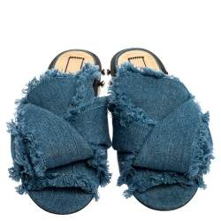 N21 Blue Denim Crystal Embellished Knotted Flat Sandals Size 39