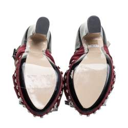 N°21 Burgundy/Black Satin And Patent Leather Crystal Embellished Pleated Bow Ankle Strap Sandals Size 38