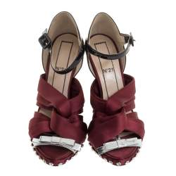 N21 Burgundy/Black Satin And Patent Leather Crystal Embellished Pleated Bow Ankle Strap Sandals Size 38