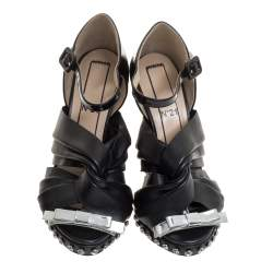 N°21 Black Leather And Patent Leather Crystal Embellished Pleated Bow Ankle Strap Sandals Size 36