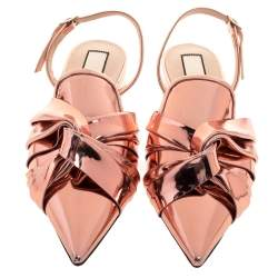 N21 Metallic Bronze Leather Knotted Toe Slingback Flat Sandals Size 40