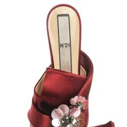 N21 Burgundy Satin Embellished Knot Mule Sandals Size 40