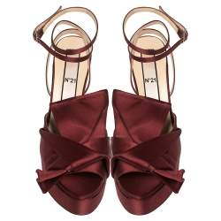 N21 Burgundy Satin Knotted Bow Peep Toe Ankle Wrap Sandals Size 40