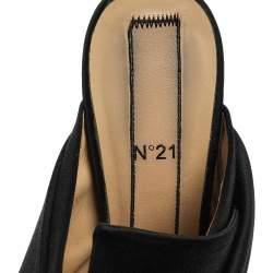 N21 Black Satin Raso Knot Peep Toe Mules Size 39.5