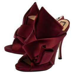 N21 Burgundy Satin Knot Open Toe Sandals Size 39