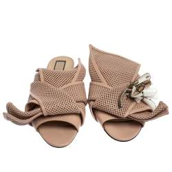 N21 Powder Pink Perforated Leather Knot Embellished Mules Size 38