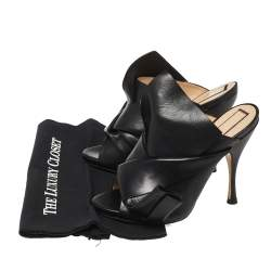 N21 Black Leather Ronny Pleated Mule Sandals Size 38