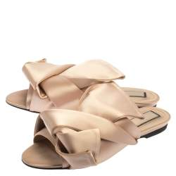N21 Pale Pink Satin Knotted Slide Sandals Size 37