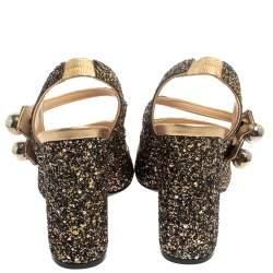 N21 Gold/Black Glitter Strappy Slingback Sandals Size 40