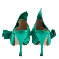 N21 Emerald Green Satin Raso Knot Peep Toe Mules Size 38