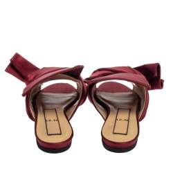 N21 Burgundy Satin Knotted Flats Size 39
