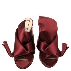 N°21 Burgundy Satin Ronny Pleated Mules Size 41