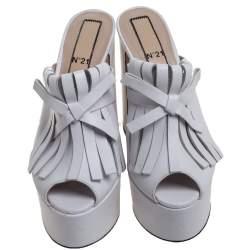 N21 White Leather Fringed Platform Mule Sandals Size 38.5