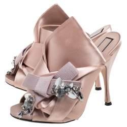 N21 Beige Satin Embellished Knot Mule Sandals Size 39