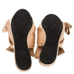 Nº21 Cream Satin Knotted Slide Flats Size 37