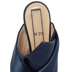 Nº21 Navy Blue Satin Raso Knot Peep Toe Mules Size 39