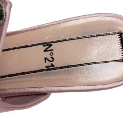 N21 Pink Satin Crystal  Embellished Knot Mule Sandals Size 39