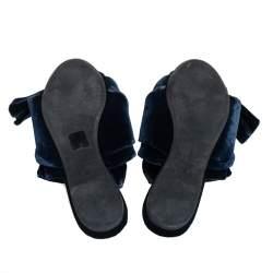 N21 Dark Blue Velvet Knot Flat Mules Size 40