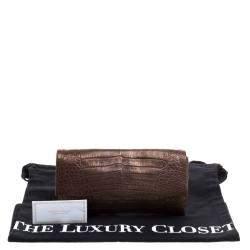 Nancy Gonzalez Bronze Shimmering Crocodile Leather Clutch