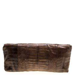 Nancy Gonzalez Metallic Brown Crocodile Frame Foldover Clutch