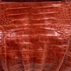 Nancy Gonzalez Red Orange Crocodile Satchel