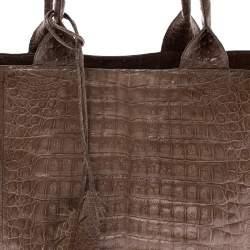 Nancy Gonzalez Beige Crocodile Leather Shopper Tote