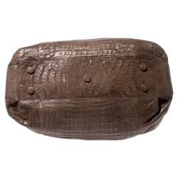 Nancy Gonzalez Light Brown Crocodile Leather Frame Satchel