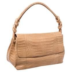 Nancy Gonzalez Flap Brown Crocodile Shoulder Bag