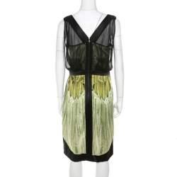 Narciso Rodriguez Green Satin and Black Mesh Overlay Sleeveless Dress M