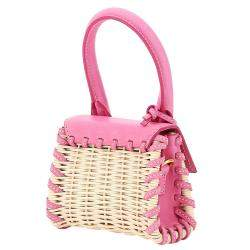Jacquemus Pink Wicker/Leather Le Chiquito Micro Bag