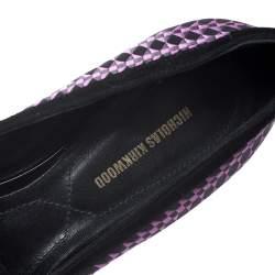 """حذاء لوفرز نيكولاس كيركوود """"ألونا"""" بمقدمة مدببة حواف سويدي و ساتان مطرز أسود و بنفسجي مقاس 38"""