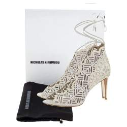 Nicholas Kirkwood White Laser Cut Leather and Patent Leather Lace Up Booties Size 40.5