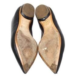 Nicholas Kirkwood Black Textured Leather Beya Pointed Toe Flats Size 35.5