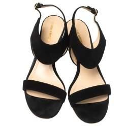 Nicholas Kirkwood Black Suede Studded Block Heel Sandals Size 37.5