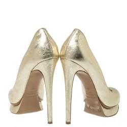 حذاء كعب عالي نيكولاس كيركوود مقدمة مستديرة و نعل سميك جلد مزخرف مورد ذهبي ميتاليك مقاس 36.5